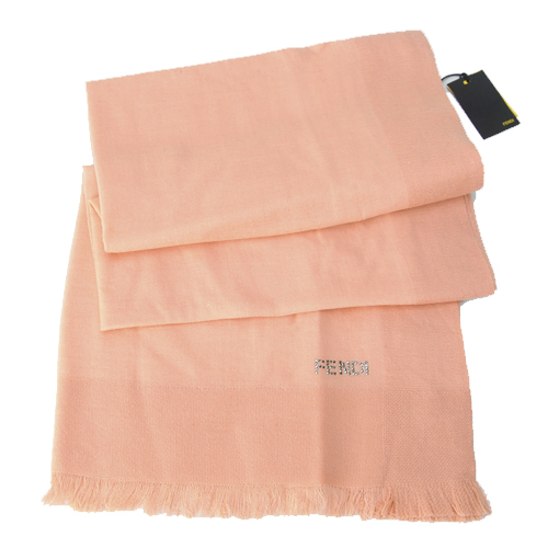 Fendi Knitted Wool/Silk Pashmina Scarf - Peach