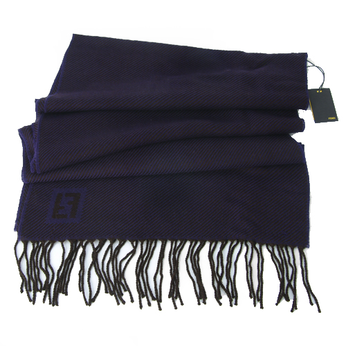 Fendi Zebra Pattern Wool Scarf - Blue