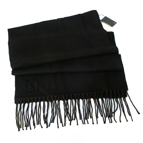 Fendi Zebra Pattern Wool Scarf - Brown