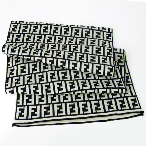 Fendi Zucca Large F Wool Scarf - Black/White