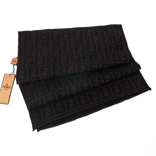 Fendi Zucca Large F Wool Scarf - Chocalate Brown