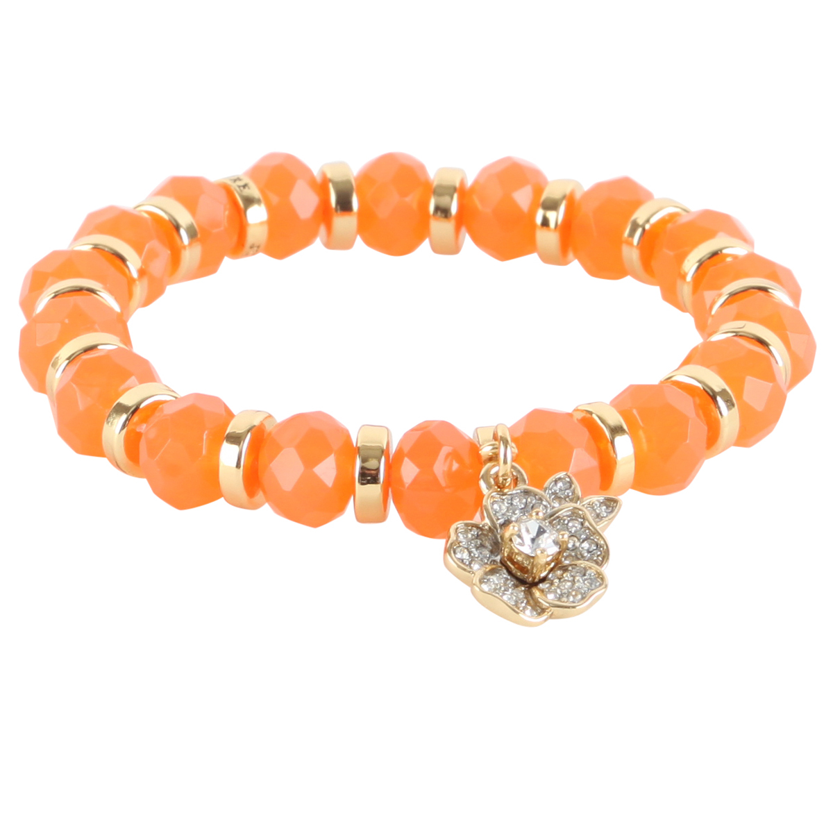 Juicy Couture Stretch Beaded Friendship Pave Flower Bracelet- Orange