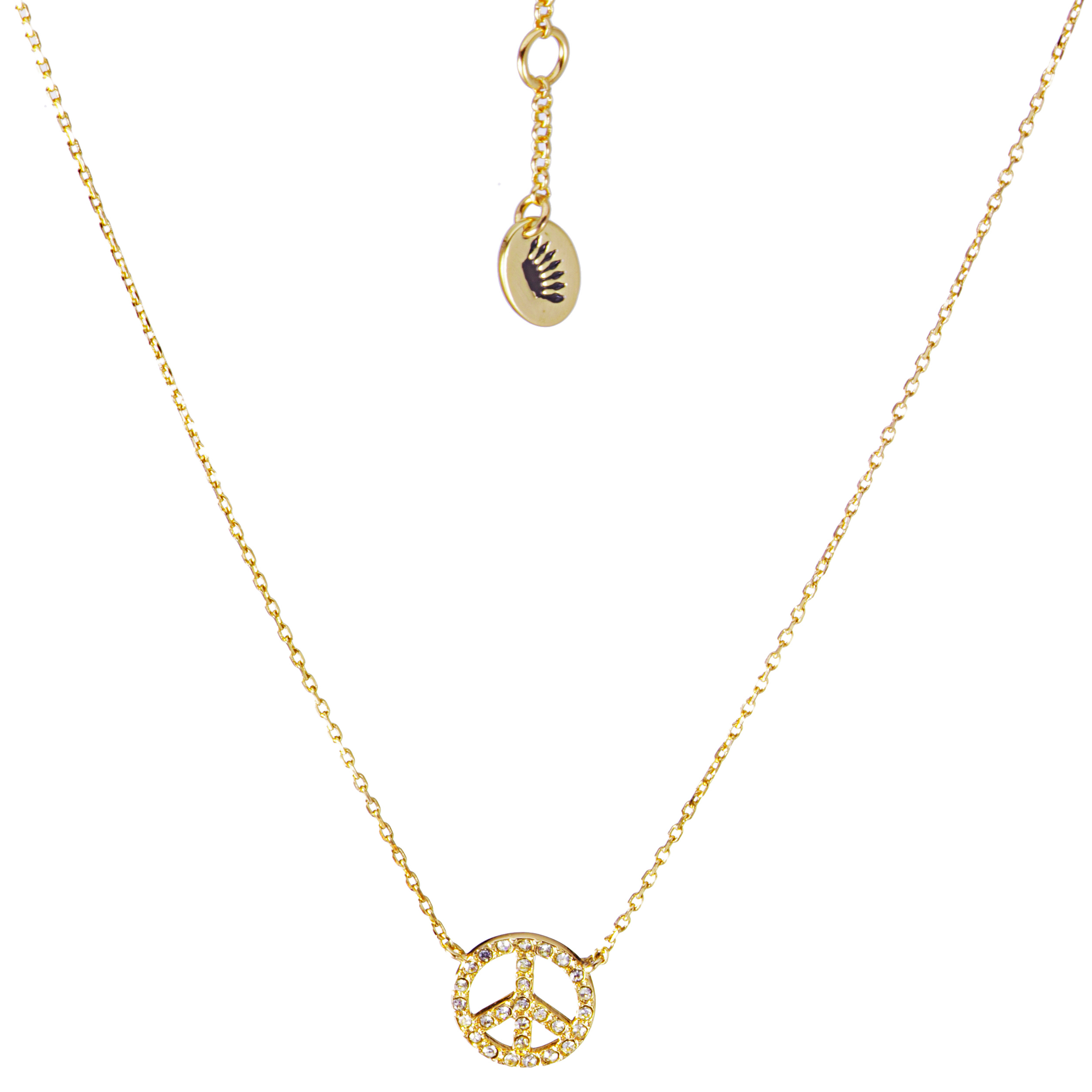 Juicy Couture Peace Sign Pendant Necklace-Gold