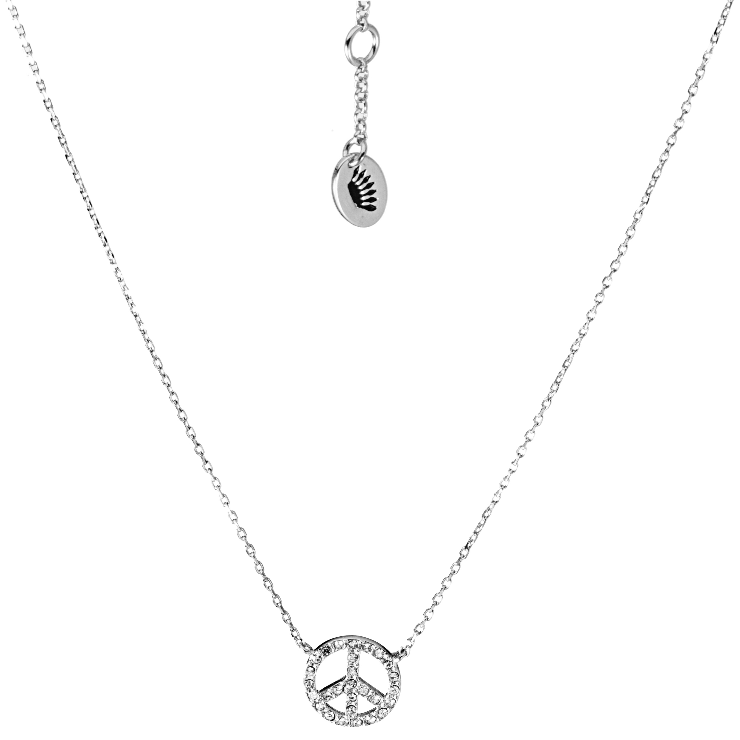 Juicy Couture Peace Sign Pendant Necklace-Silver