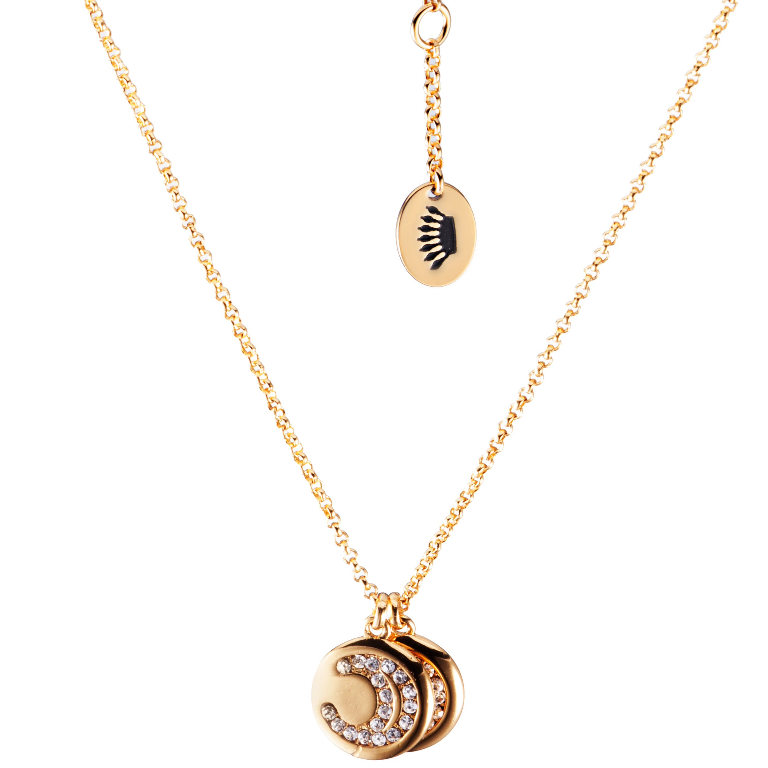Juicy Couture Peace Moon Double Pendant Necklace-Gold