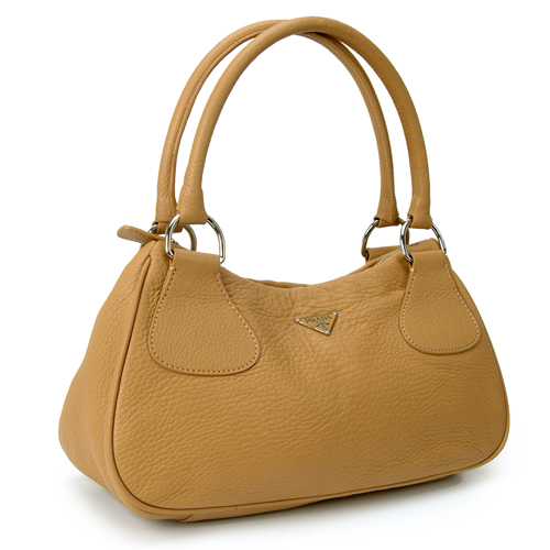Prada BR0830 Leather Handbag - Camel