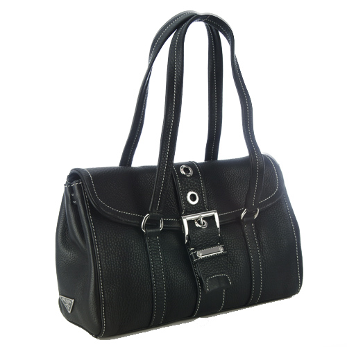 Prada BR2436 Cervo Leather Handbag - Black