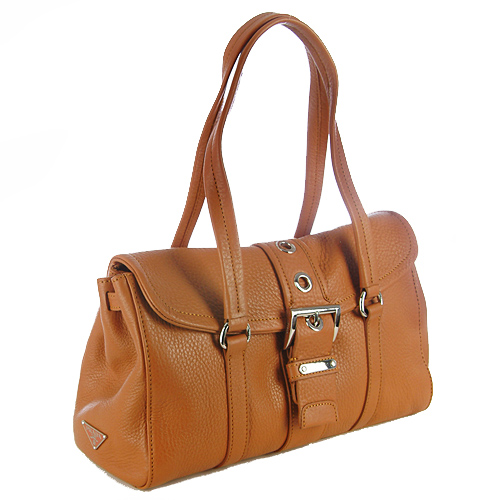 Prada BR2436 Cervo Leather Handbag - Camel