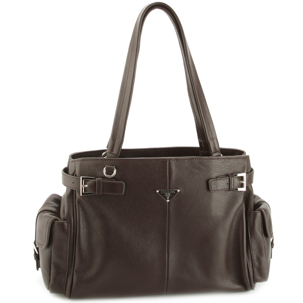 Prada BR2958 VIT Daino Life Leather Handbag - Choc