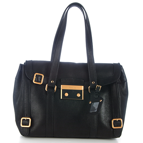 Prada BR3026 Sacca Leather Shoulder Tote - Black