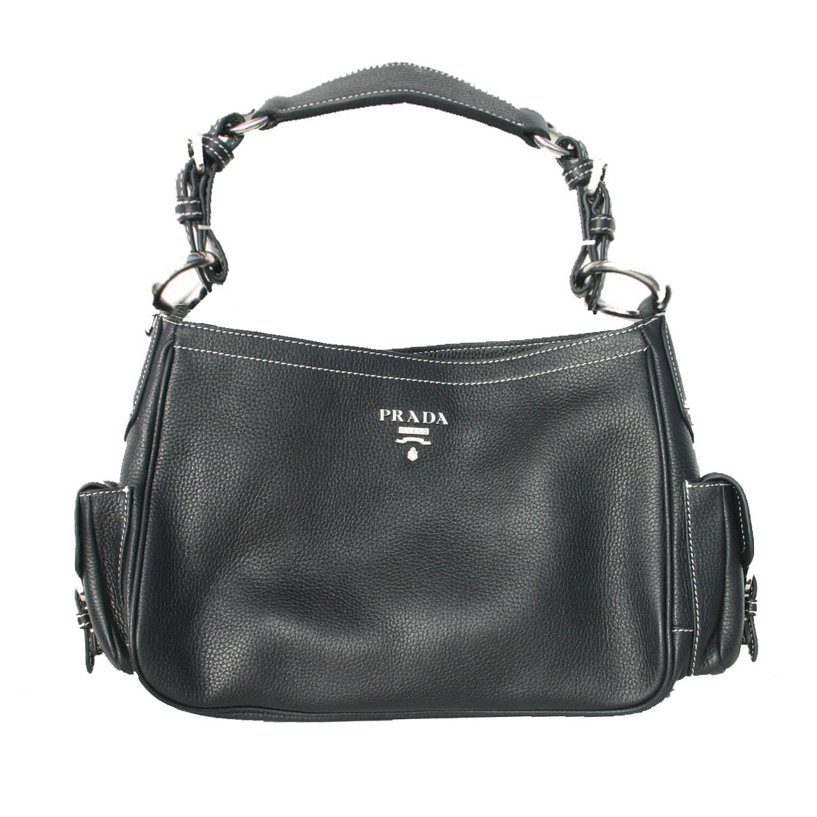 Prada BR3353 Leather Vitello Daino Handbag - Black
