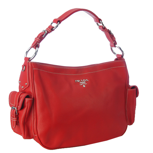 Prada BR3353 VIT Daino Life Leather Handbag - Red