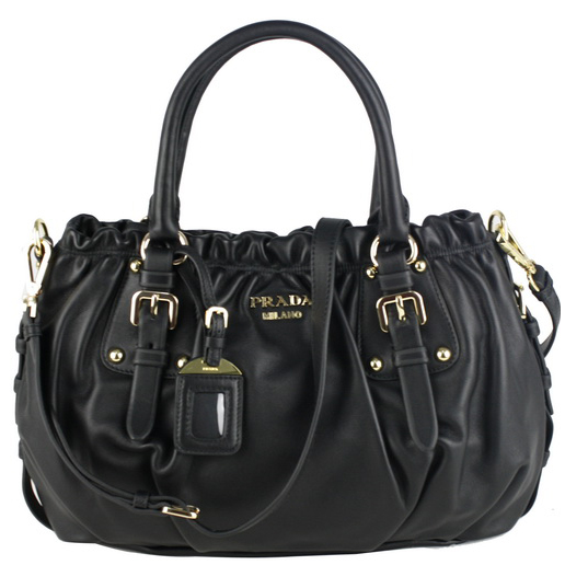 Prada BR4259 Vitello Daino Leather Shoppers Handbag - Black