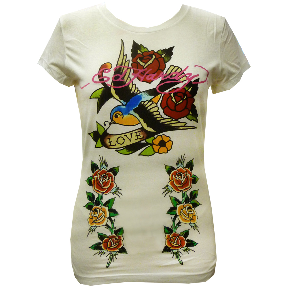 Ed Hardy Womens Specialty Hummingbird & Roses Crew Neck T-Shirt - Off White