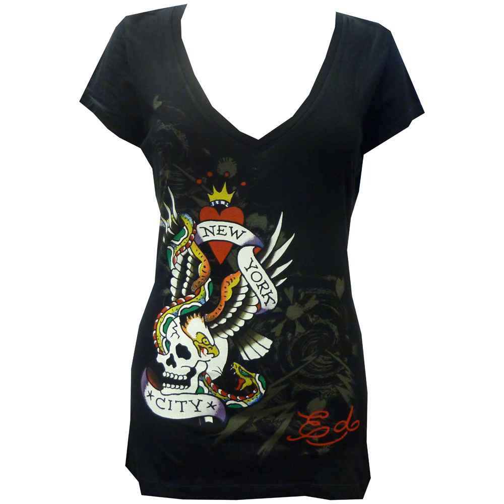 Ed Hardy Womens NYC Specialty V-Neck Tee Shirt-Black