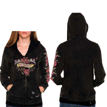 Ed Hardy Womens Specialty Red Rose Hoodie - Black