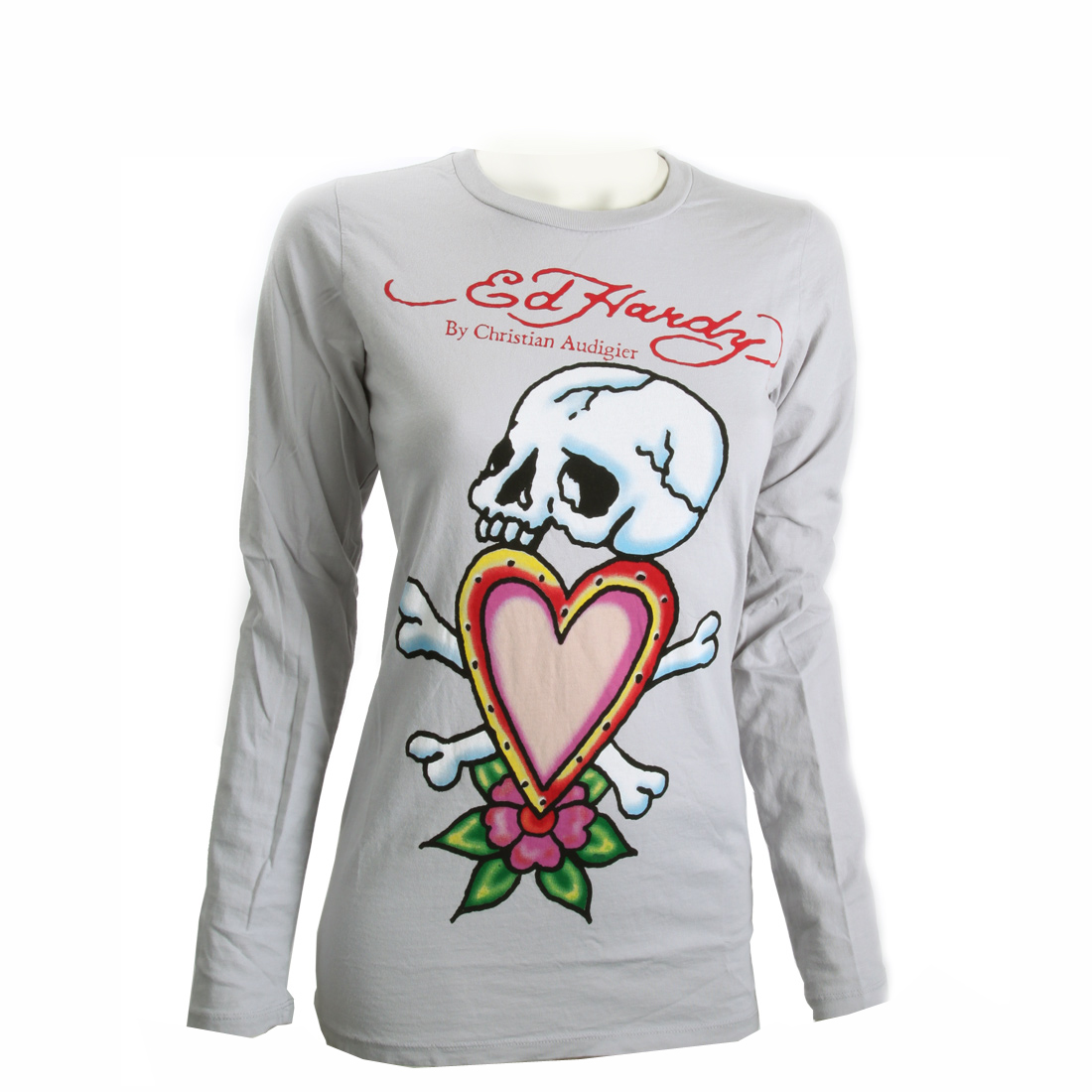 Ed Hardy Womens Skull In Love Long Sleeve Shirt-Grey
