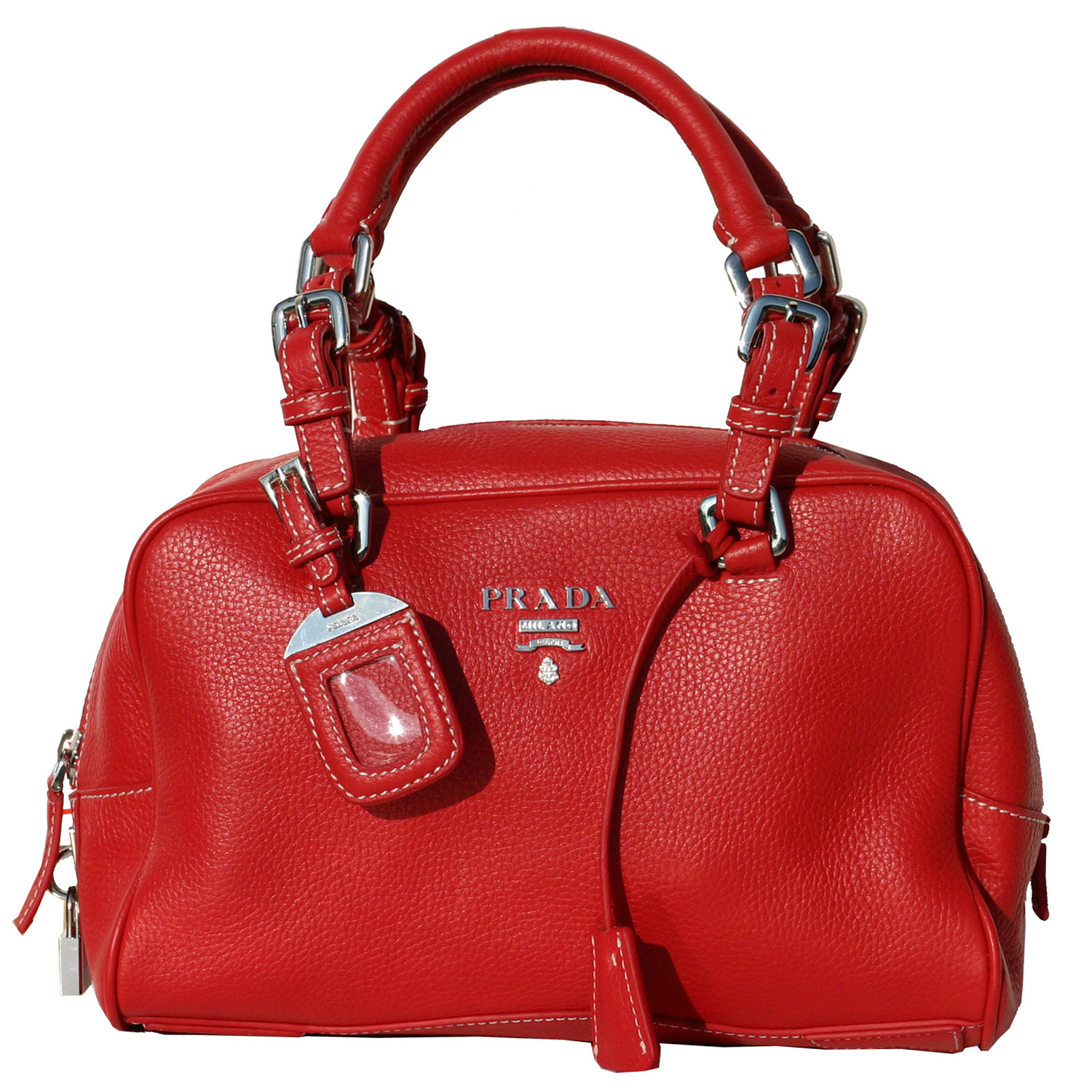 Prada BR3106 Vitello Daino Leather Handbag - Red