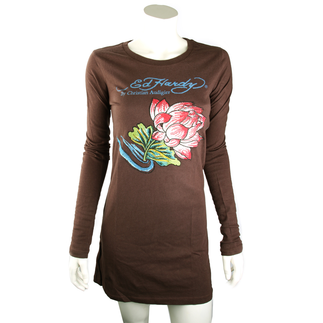 Ed Hardy Womens Lotus Platinum Tunic- Chocolate