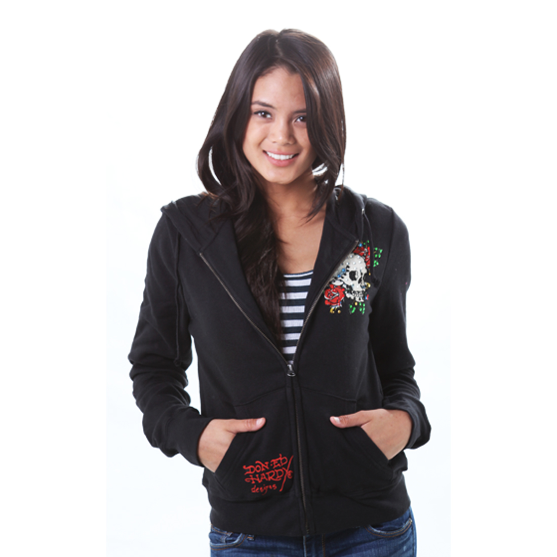 Ed Hardy Womens Skull Rose Basic Hoodie - Black