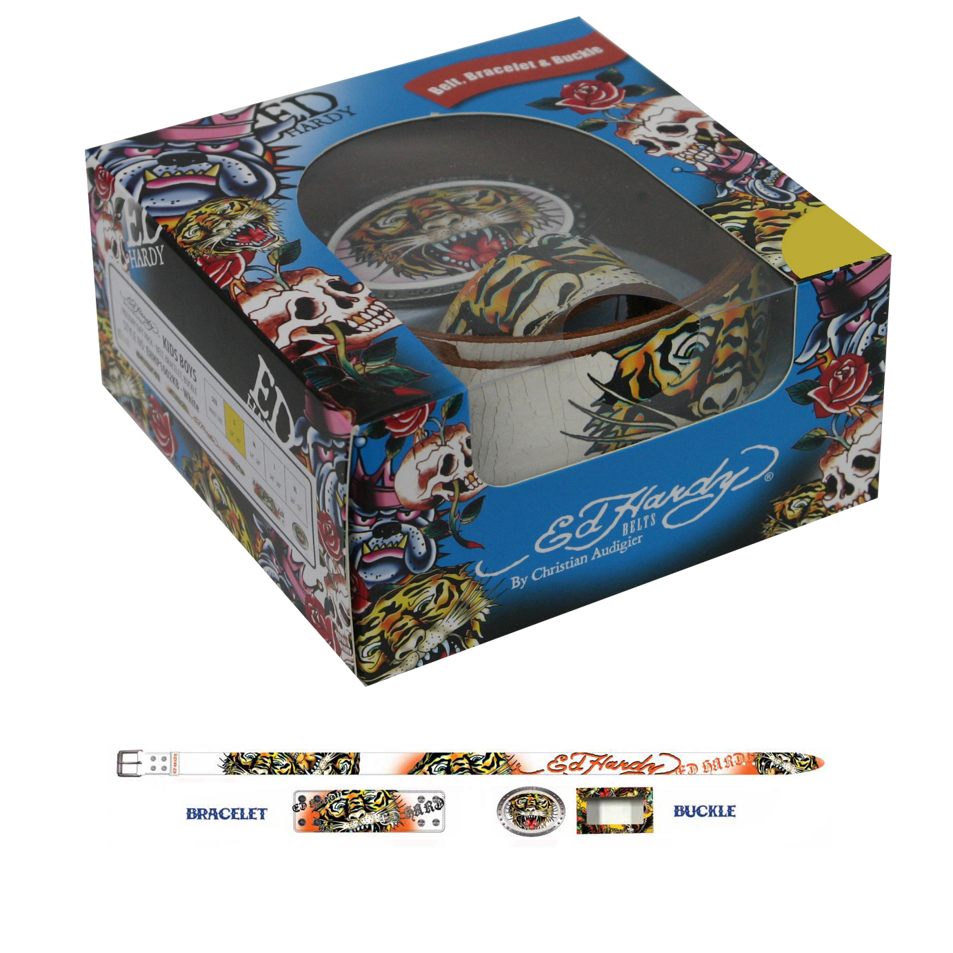 Ed Hardy  Open Mouth Tiger Holiday Gift Belt Set for Boys- White