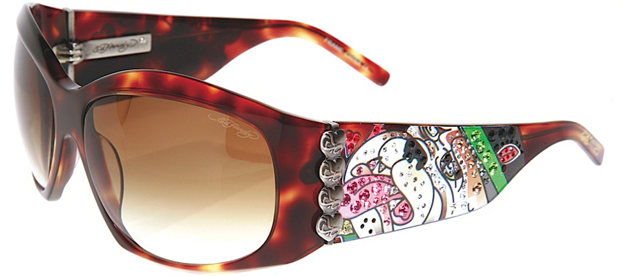 Ed Hardy EHS-006 Love Dog Sunglasses - Tortoise/Br