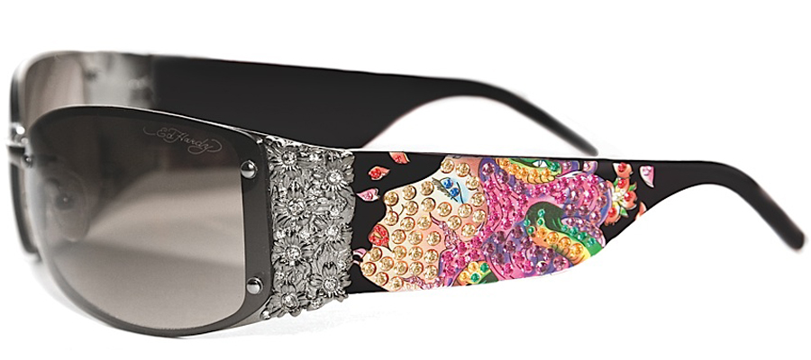 Ed Hardy EHS-028 Medusa Sunglasses - Black/Gray