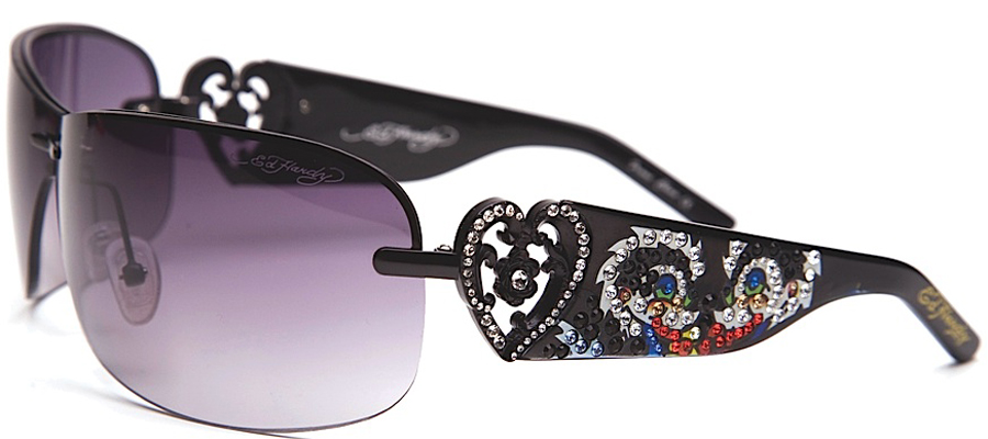 Ed Hardy EHS-031 Skunk Black & Purple Sunglasses -