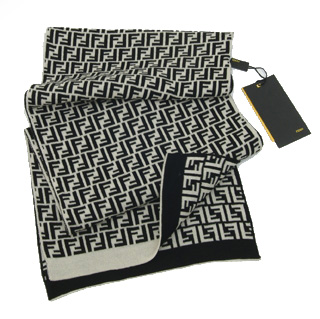 Fendi Zucchino Double F Logo Wool Scarf - Black/Wh