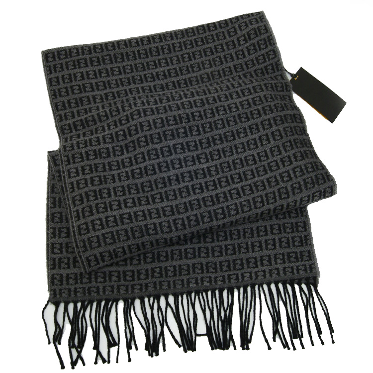 Fendi Zucchino Double F Logo Wool Scarf - Grey
