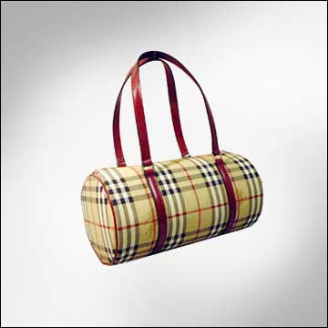 Burberry Signature Check Barrel Bag - Red Trim