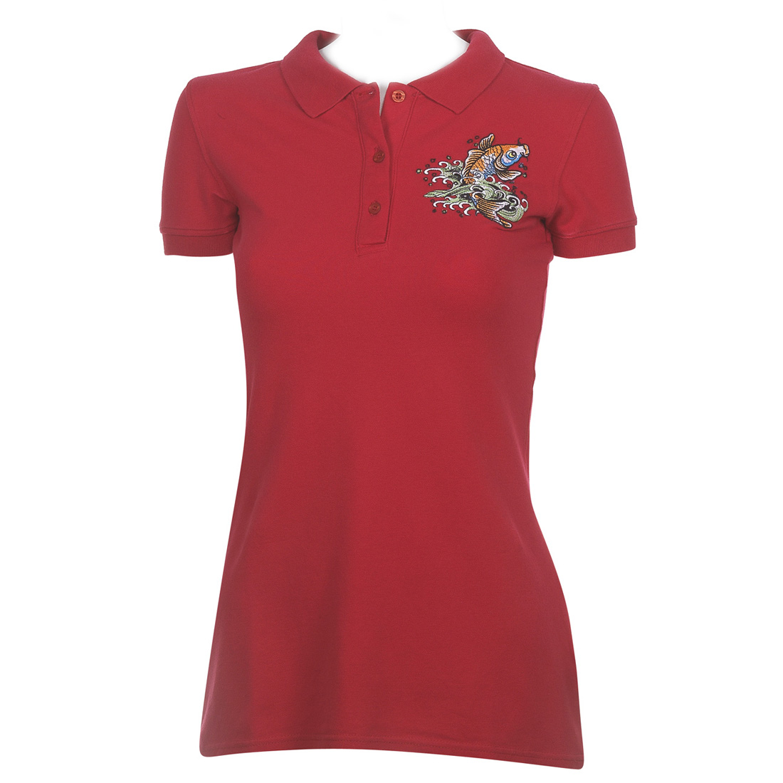 Ed Hardy Womens Koi Basic Polo Shirt - Red