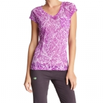 New Balance Essential Branch Burnout V Neck T-Shirt - Bright Violet