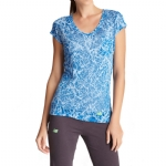 New Balance Essential Branch Burnout V Neck T-Shirt - Electric Blue