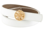 Tory Burch Classic Reversible Logo Belt-White/Clay
