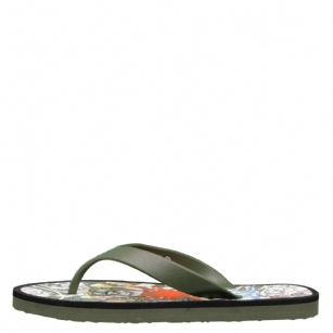 Ed Hardy BC 200 Flip Flop for Men - Military - Add the unmistakable look of Ed Hardy designs to your�shoe collection. Classic sandal style is updated with a signature strap and�tattoo-inspired graphics on the footbed. Lightweight rubber upper in a casual three point thong sandal style with a round toe and rolled rubber toe thong post.