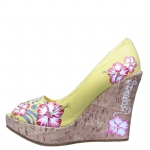 Ed Hardy Coralie Flower Wedge Shoe - Yellow