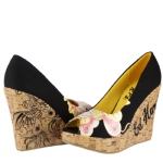 Ed Hardy Womens Candace Wedge Shoe - Black