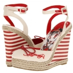 Ed Hardy Womens Mariner Wedge Shoe - Red