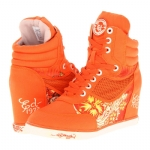 Ed Hardy Sneaky Wedge Sneaker for Women - Orange