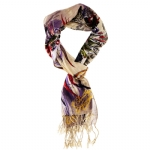 Christian Audigier 18x75 Feather Printed Scarf - Cream