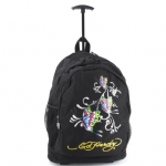 Ed Hardy Brad Butterfly Glitter Trolley Backpack- Black