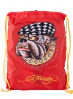 Ed Hardy Drew Drawstring Racing Dog  Bag - Red