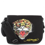 Ed Hardy Leo Tiger Messenger Bag - Black