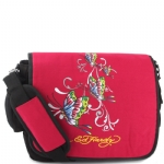 Ed Hardy Leo Butterfly Messenger Bag - Berry