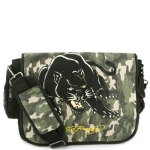 Ed Hardy Leo Panther Messenger Bag - Green Camo