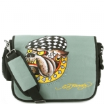 Ed Hardy Leo Racing Dog Messenger Bag - Asphalt Grey