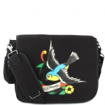 Ed Hardy Leo Spring Sparrow Messenger Bag - Black