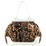 Ed Hardy Kitty Grande Tote Bag - White Leopard