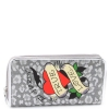 Ed Hardy Panthera Spring  Zip Around Wallet - Silver